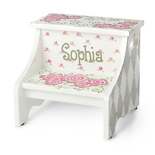 Image of Grey Rose Hand-Painted Stool
