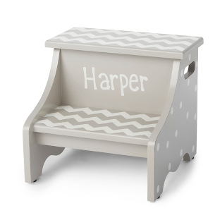 Image of Grey Chevron Hand-Painted Stool