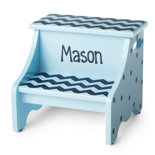 Image of Blue Chevron Hand-Painted Stool