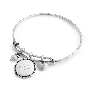 Image of Silver Wire Charm Bangle with complimentary Classic Beveled Edge Round Keepsake Box
