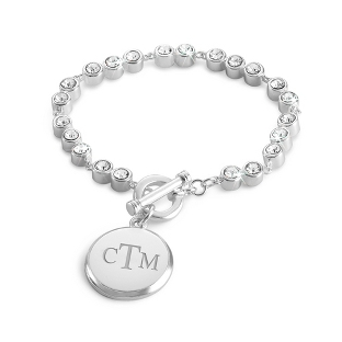 Image of Double Bezel Set Crystal Toggle Bracelet with complimentary Filigree Keepsake Box