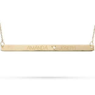 Image of 10KT Gold & Diamond Horizontal Couples Necklace with complimentary Filigree Keepsake Box