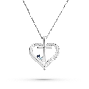 Image of Sterling Birthstone and Diamond Accent Cross Necklace