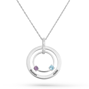 Image of 2 Stones Sterling Family Birthstone & Name Circle Pendant with complimentary Filigree Keepsake Box
