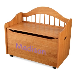 "Image of 33"" Honey Sit and Stow Toy Box with Purple Name"