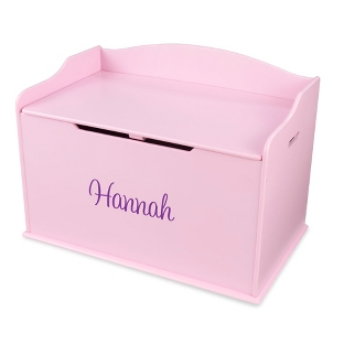 "Image of 30"" Pink Busy Bee Toy Box with Purple Name"