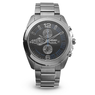 Image of Seiko Men's Solar Chronograph Watch with complimentary Black Lacquer Wrist Watch Box