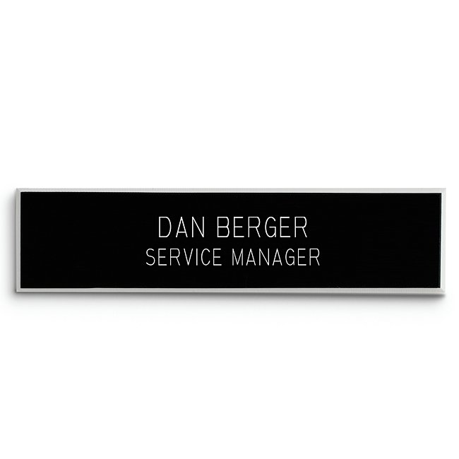 Purchase this name badge for an employee or yourself. Engrave your name to help clients or customers know who they're dealing with. Name badge fastens with a pin located on the back of the badge.