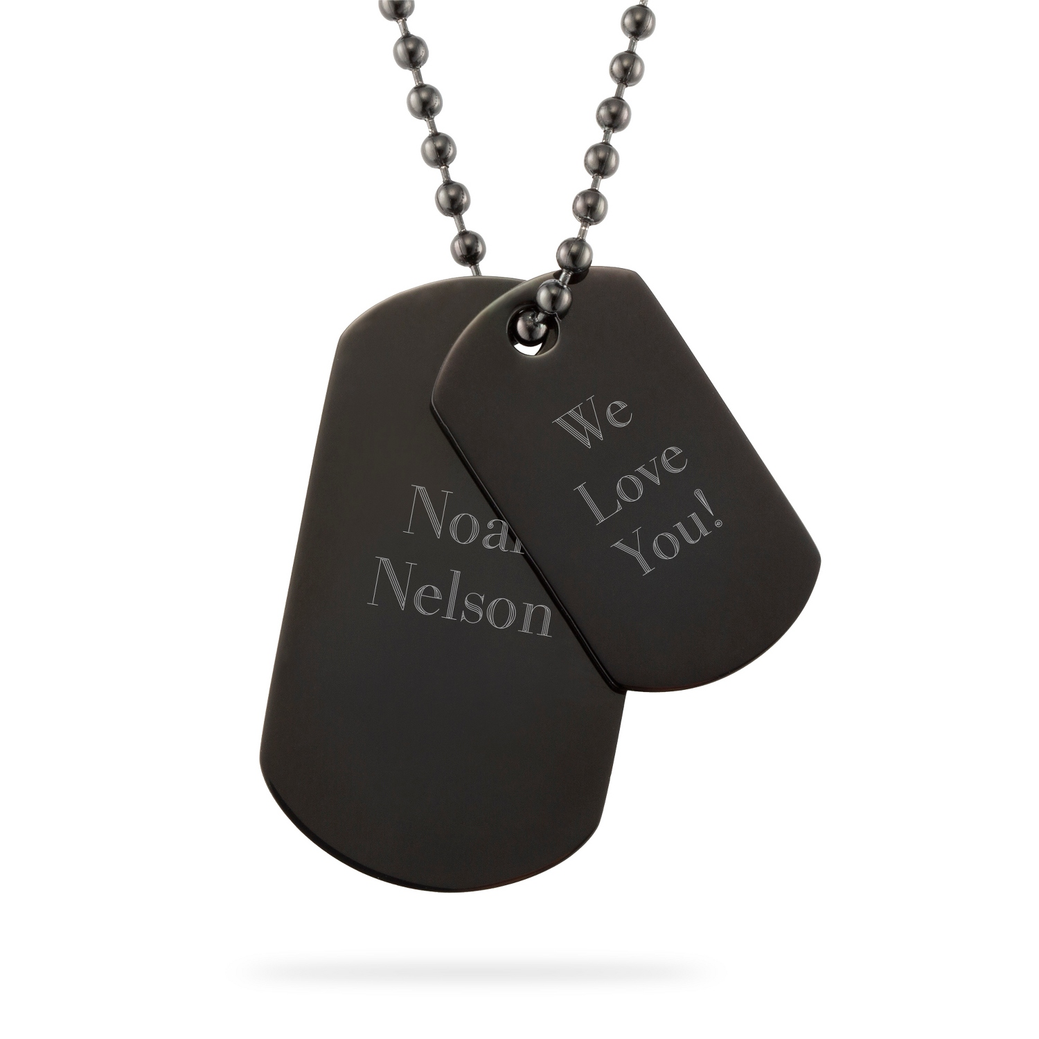 Engraved dog tags pendants at things remembered boys gunmetal dog tag necklace aloadofball Gallery
