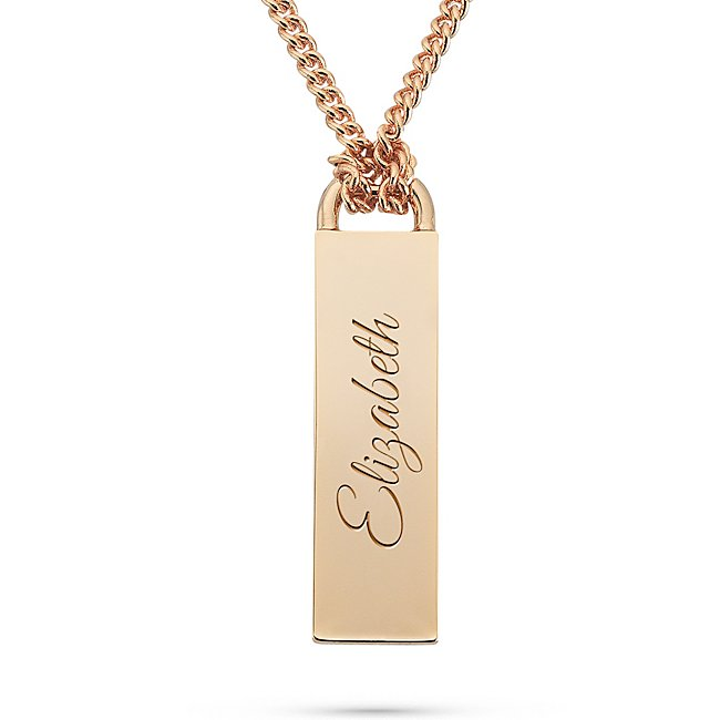 Gold Plated Bar Pendant Necklace with complimentary Filigree Keepsake Box