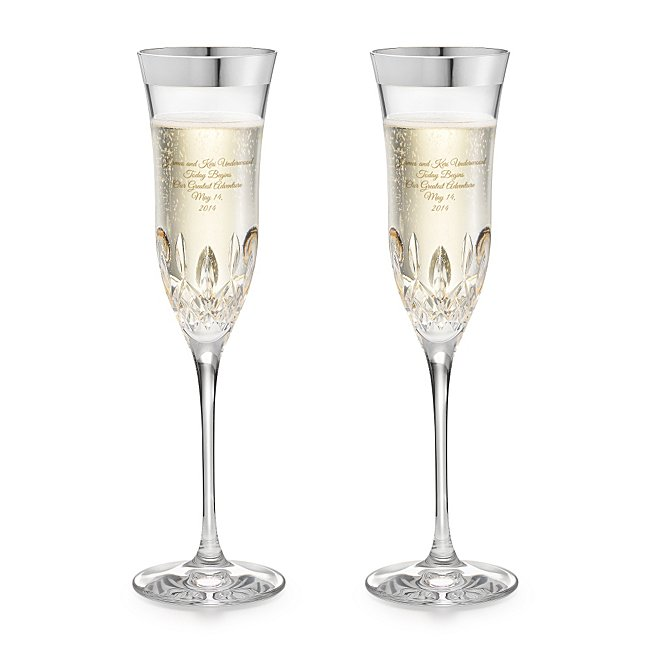 Waterford Lismore Essence Platinum Rim Champagne Flutes