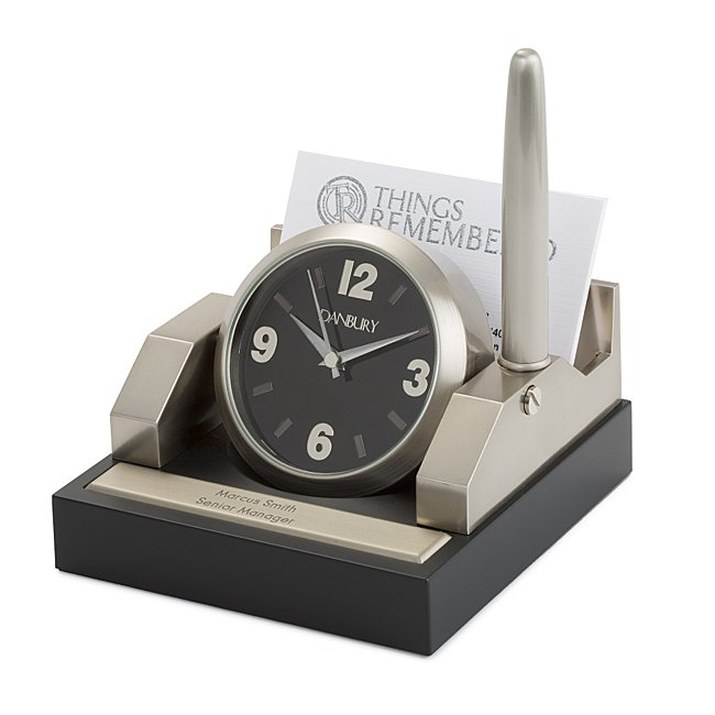 Personalized Office Desk Clock Pen Stand by Things Remembered