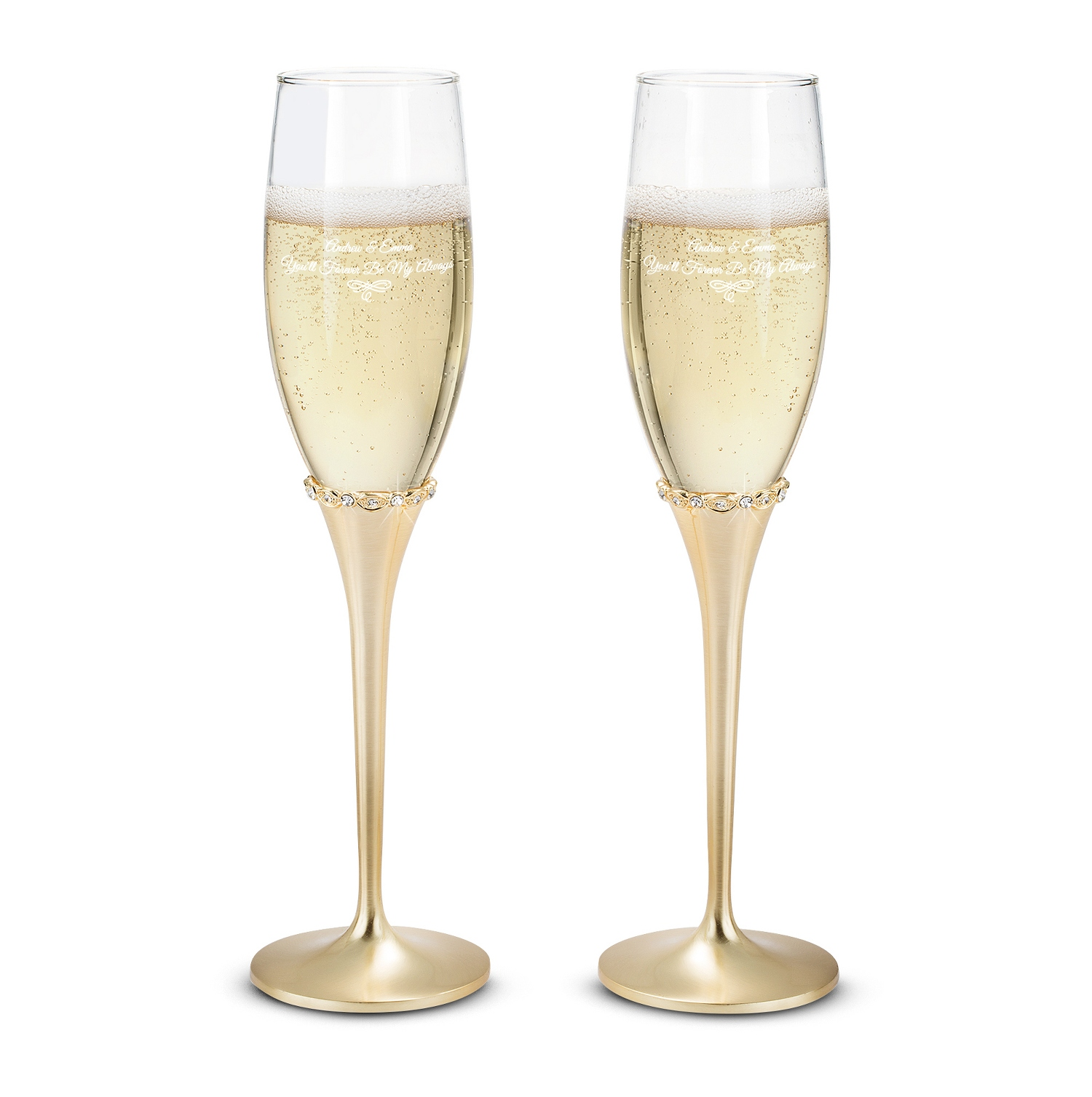 engraved princess gold champagne flutes set. Black Bedroom Furniture Sets. Home Design Ideas