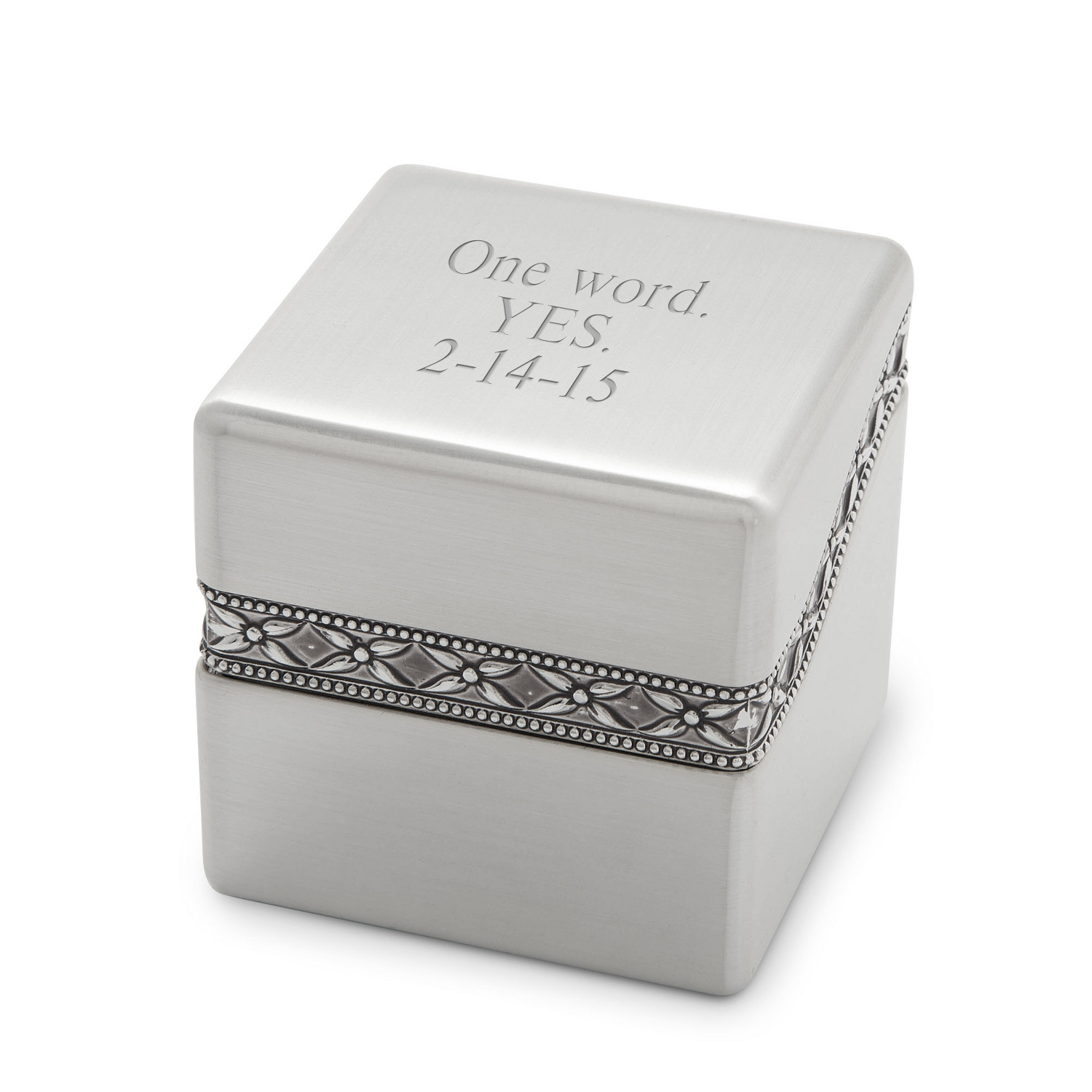 Engraved Silver Ring Box