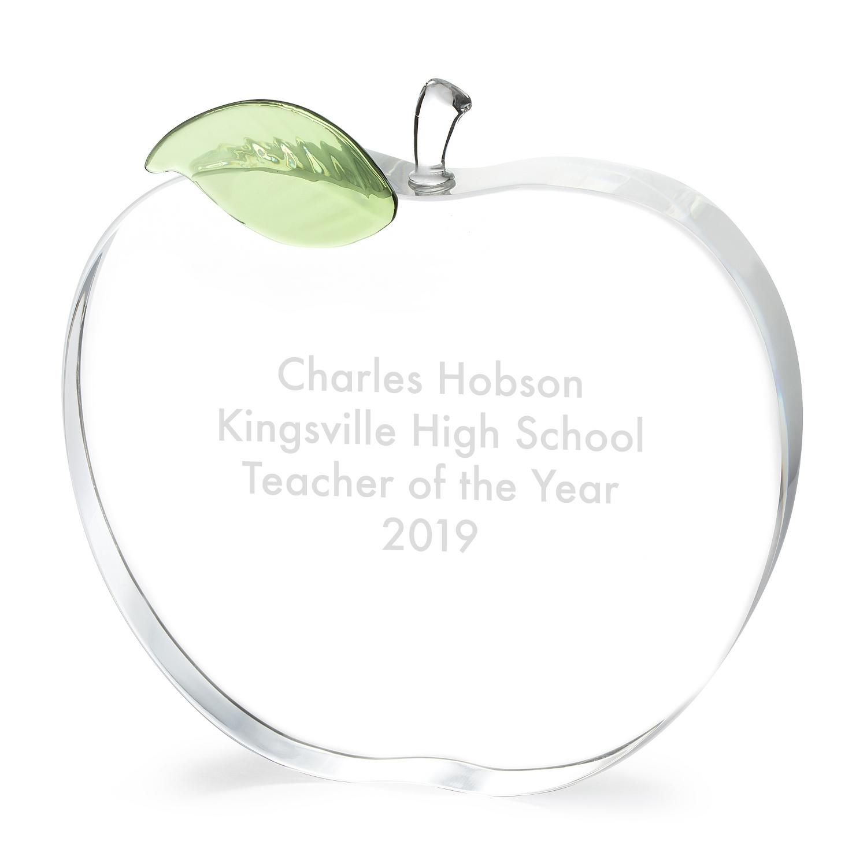 d2641bc87e945 Engraved Crystal Apple Award