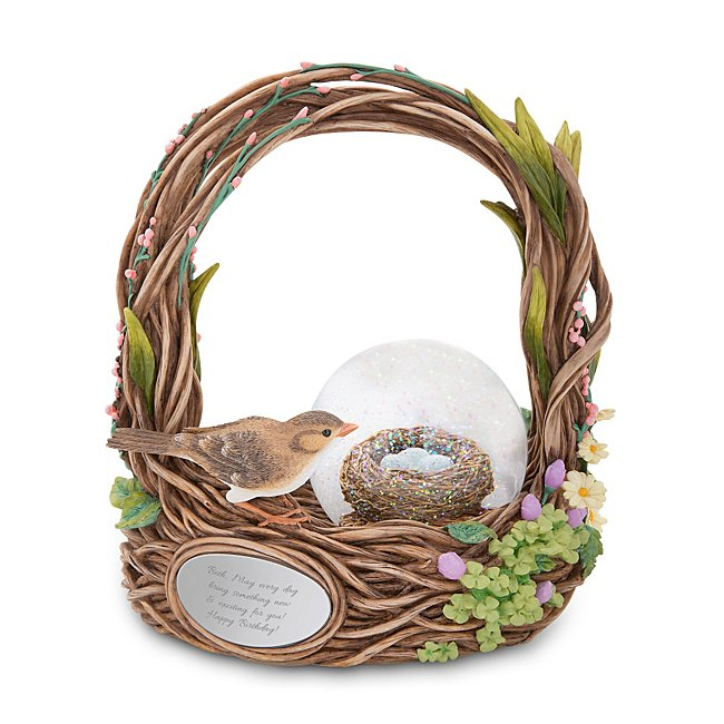 Personalized Birds Nest Snow Globe - Musical