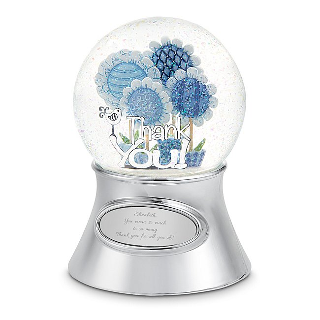 Personalized Thank Them with Flowers Musical Snow Globe