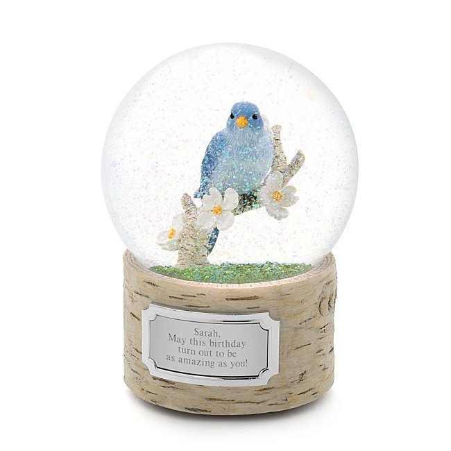 Personalized Bluebird Snow Globe - Musical