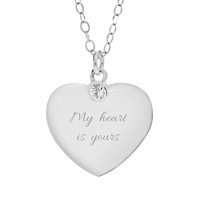 Personalized Sterling Silver & Genuine White Sapphire Heart Pendant with complimentary Filigree Heart Box by Things Remembered