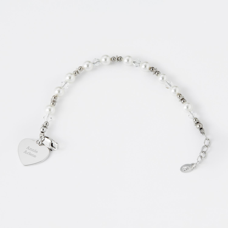 Personalized Sterling Silver Flower Girl Bracelet