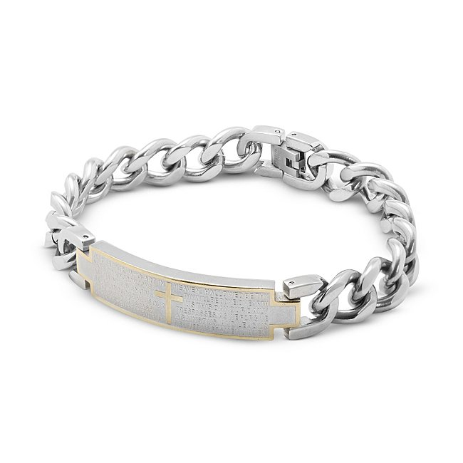 Our Father Silver and Gold ID Bracelet for Men with complimentary TriTone Valet Box