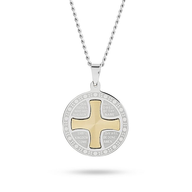 Personalized Our Father Silver and Gold Cross Pendant with complimentary Weave Texture Valet Box by Things Remembered
