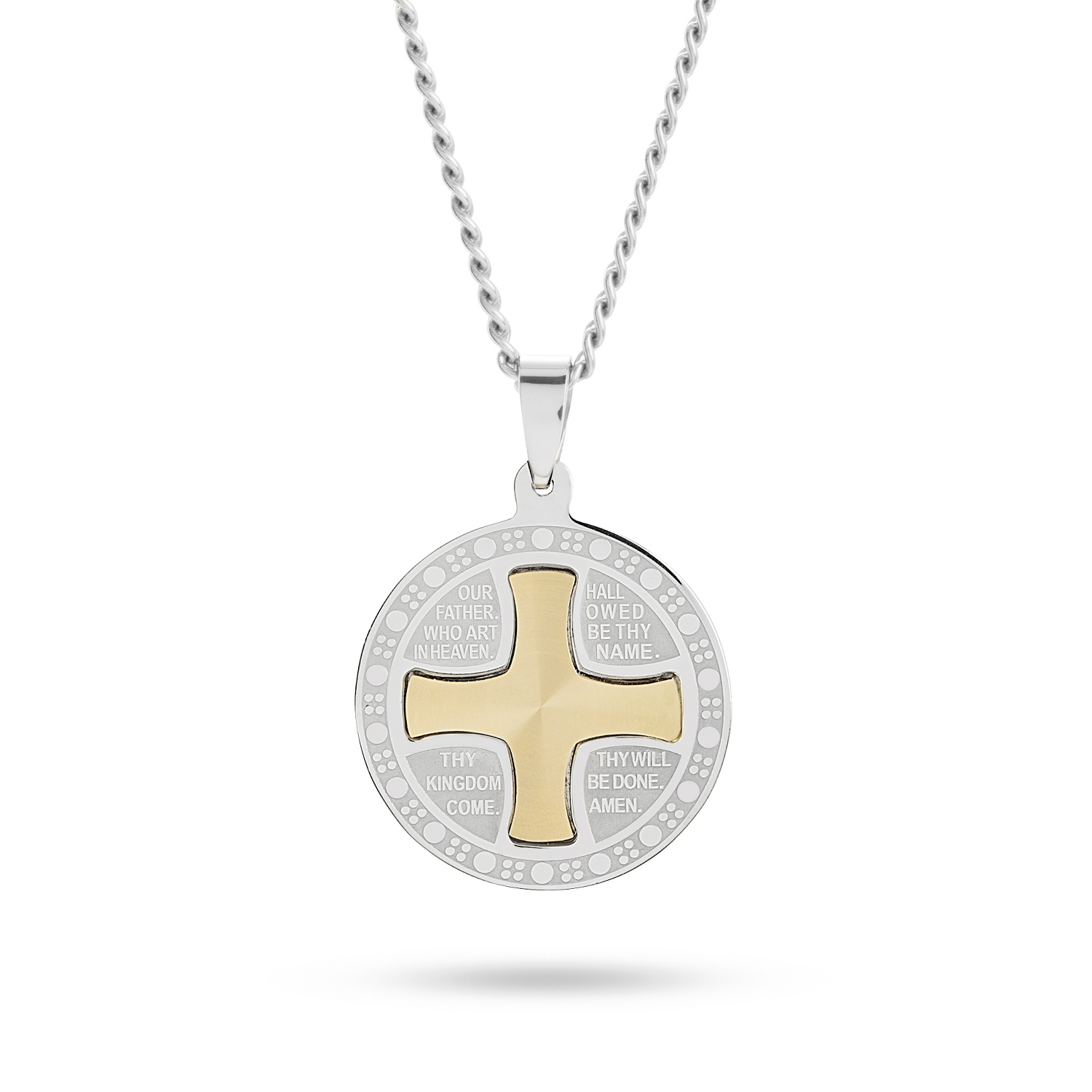 Personalized Our Father Silver and Gold Cross Pendant