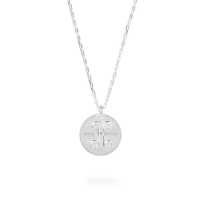 Sterling Silver K Initial Swing Charm Necklace