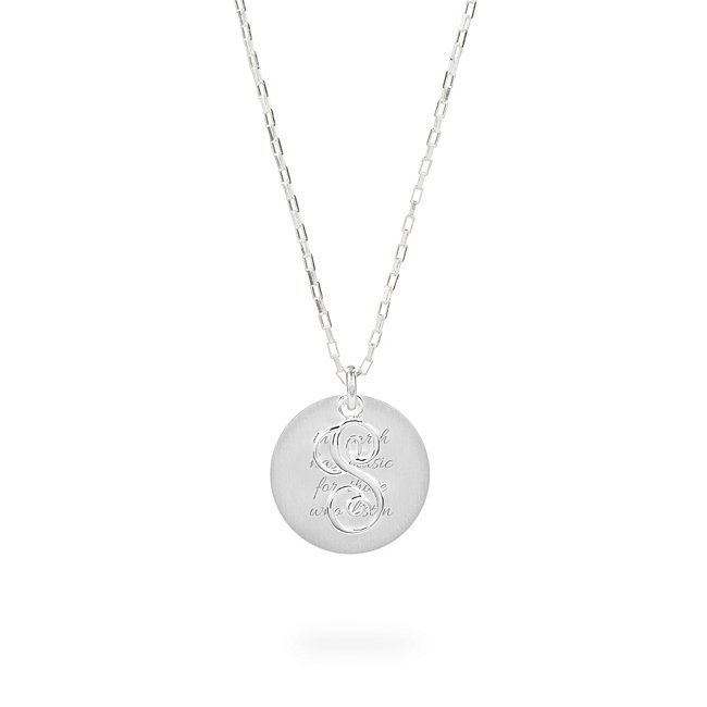 Sterling Silver S Initial Swing Charm Necklace