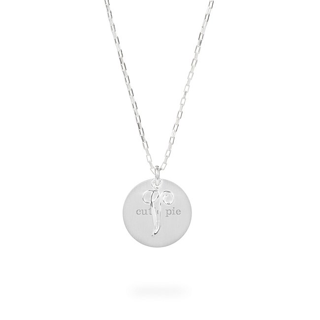 Sterling Silver V Initial Swing Charm Necklace