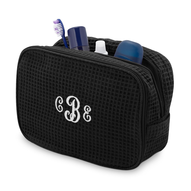 e9c6765eab50 Black Waffle Weave Cosmetic Bag