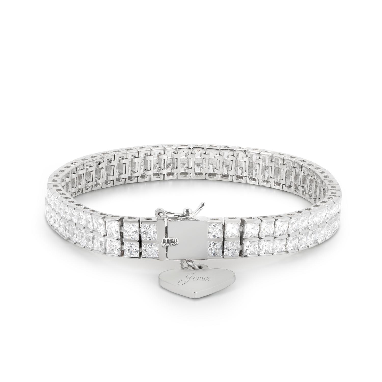 Double Princess-Cut Crystal Tennis Bracelet