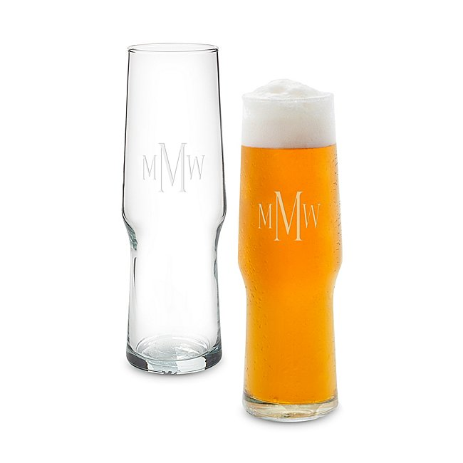 16 oz. Pilsner Evolution Glass Set with Monogram photo