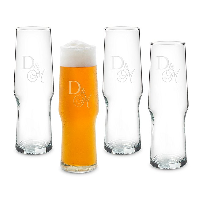 Set of 16 oz. Pilsner Evolution Glasses with Mixed Monogram photo