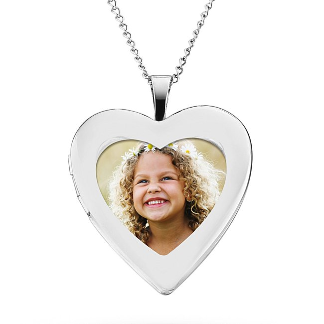 Sterling Silver Open Heart Locket with complimentary Classic Beveled Edge Round Keepsake Box