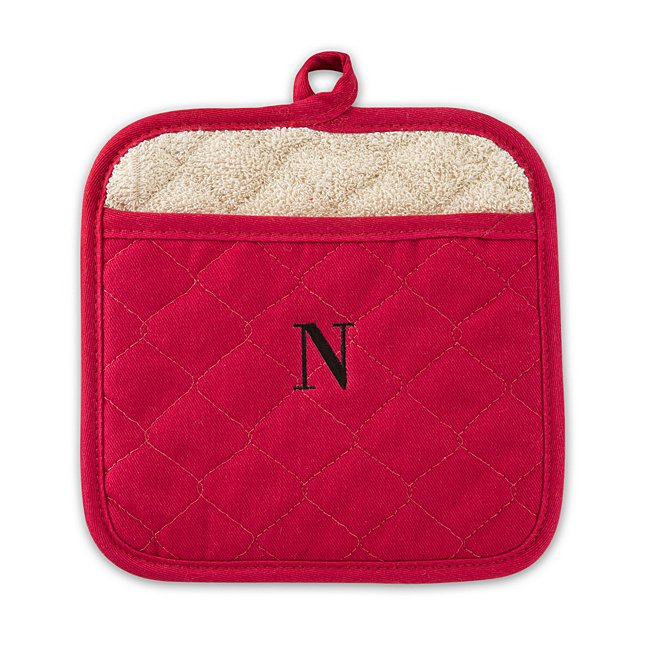 Red Quilted Pot Holder, Center Monogram, Cotton/Iron, By Things Remembered photo