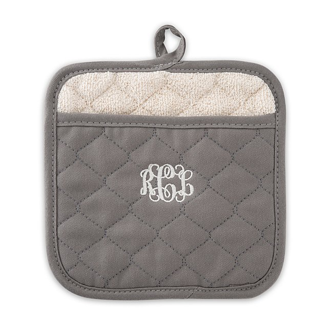 Pewter Quilted Pot Holder, In Multi, Center Monogram, Cotton/Iron, By Things Remembered photo