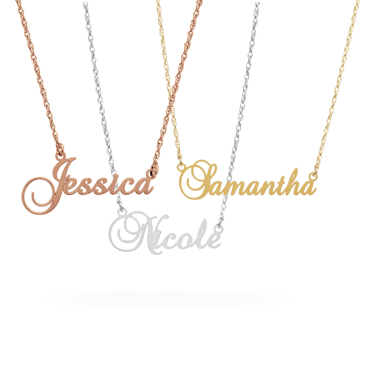 name to drag gold larger over sterling plate necklace zoom image roll with in v p cursive silver