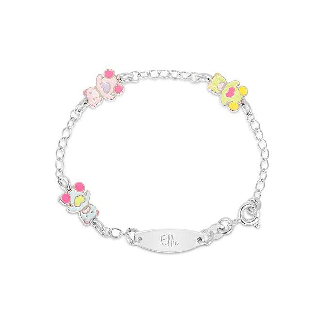 Girls Teddy Bear ID Charm Bracelet