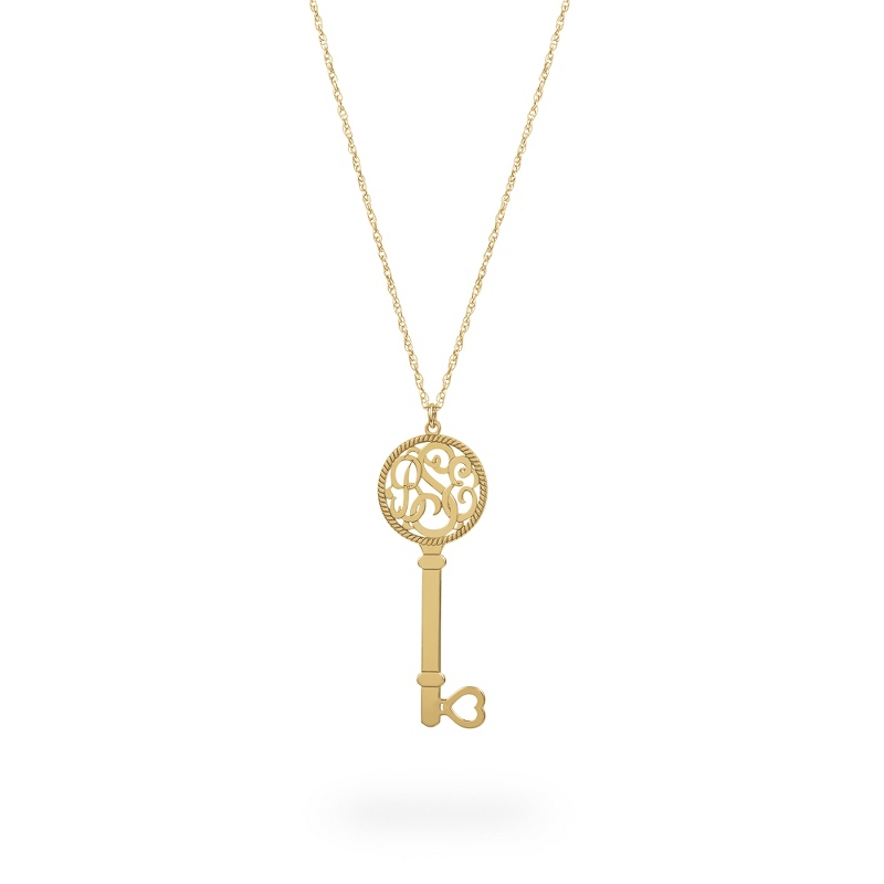 Alison and Ivy Yellow Gold Sterling Silver Key Script