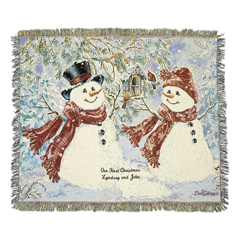 Image Snowy Sweethearts Tapestry Throw