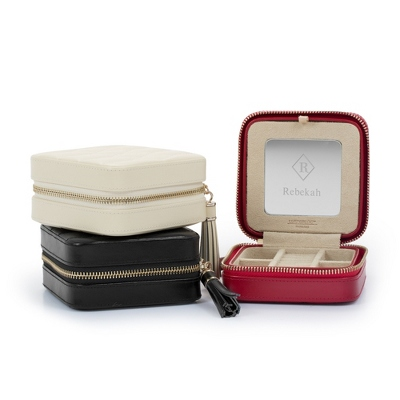 genuine leather quilted travel jewelry box