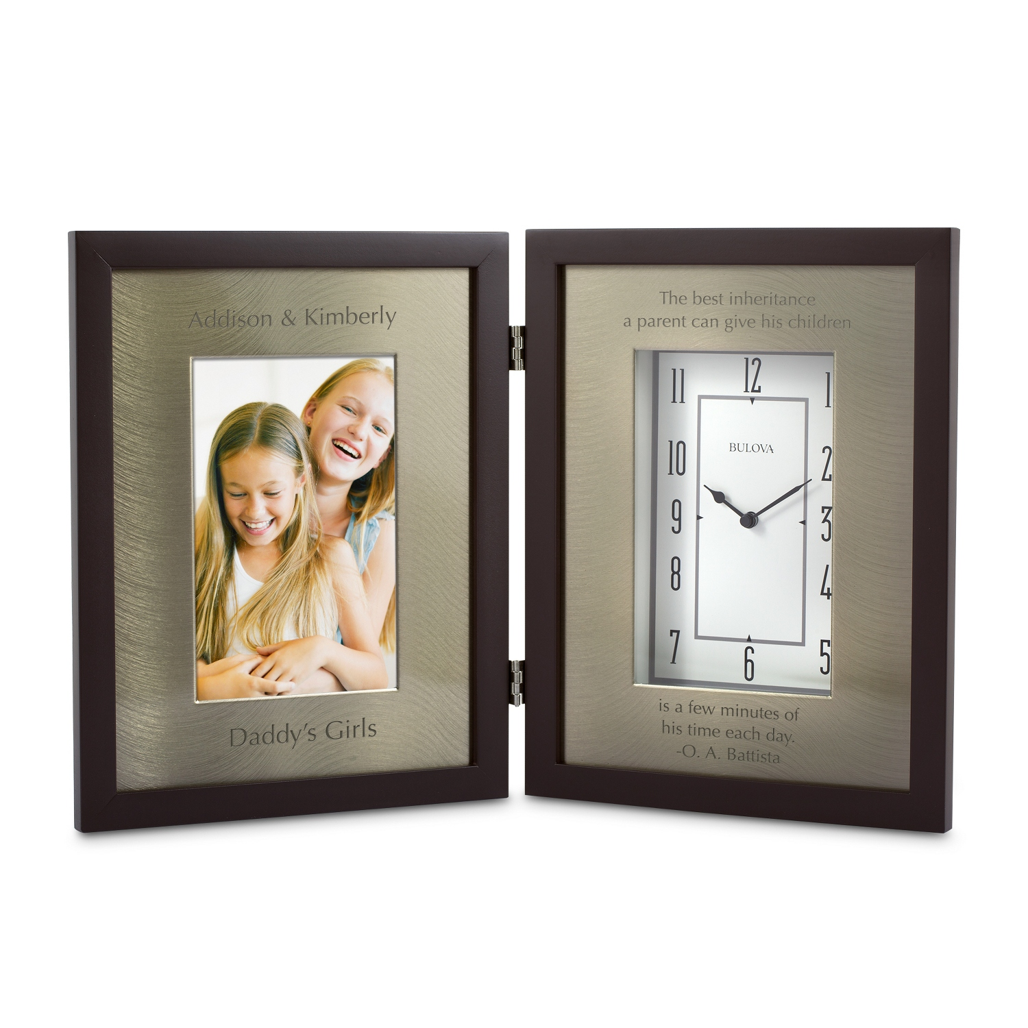 Personalized bulova clocks at things remembered bulova winfield picture frame clock jeuxipadfo Images