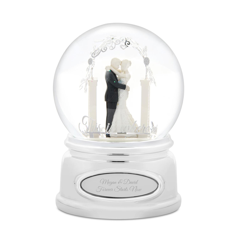 Bride & Groom Wedding Musical Snow Globe