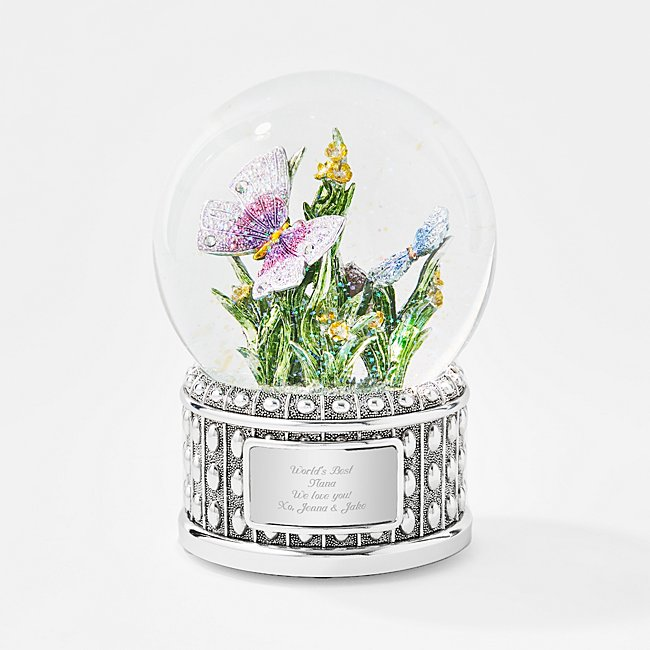 Image of Dazzling Musical Butterfly Water Globe - Personalized