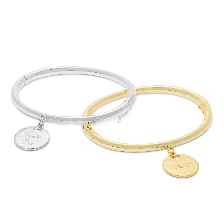 Heart Charm Bangle Bracelets
