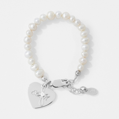 Sterling Silver and Pearl Baptism Baby Bracelet