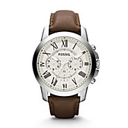 engraved mens watches at things remembered fossil reg grant chronograph brown leather watch fossil reg grant chronograph brown leather watch