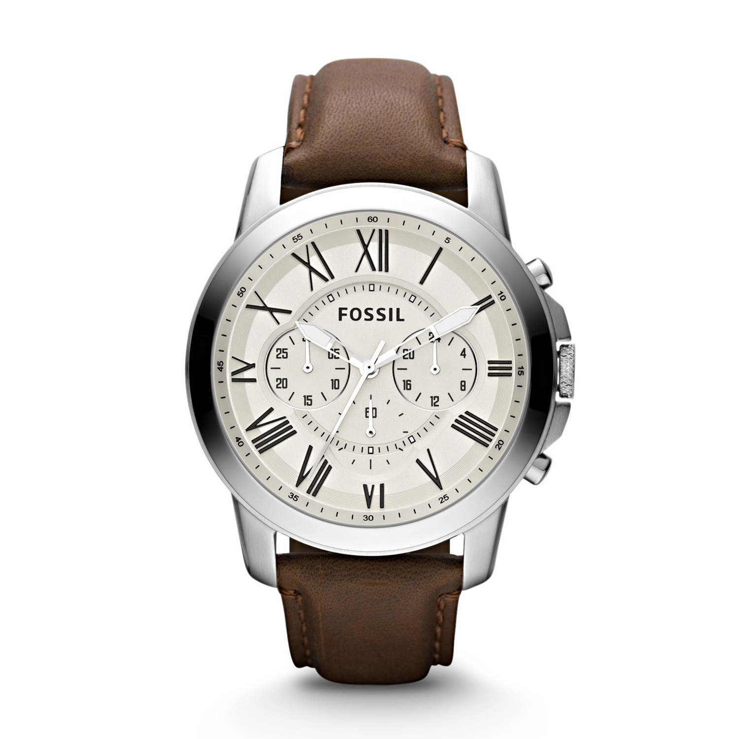 Fossil mens grant chronograph brown leather watch colourmoves