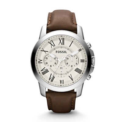 fossil mens grant chronograph brown leather watch